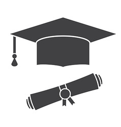 Graduation Hat and Diploma Outline Icon vector image vector image