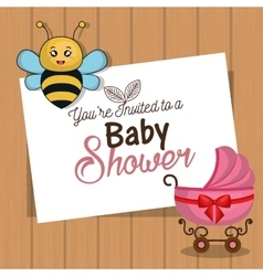 invitation baby shower card with bee and carriage vector image