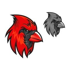 Red cardinal bird in cartoon style vector