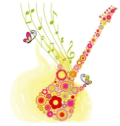 spring guitar music vector image vector image