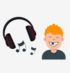Joyful boy with missing tooth listening to music vector