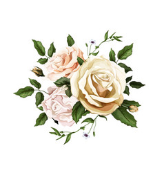 realistic watercolor rose bouquet leaves vector image