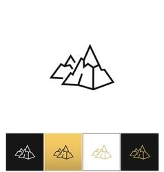 Rock logo or mountain stone linear icon vector image vector image