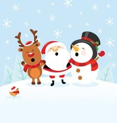 Santa Snowman Reindeer Celebrating Christmas vector image vector image