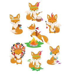 set of foxes of indians collection of little cute vector image
