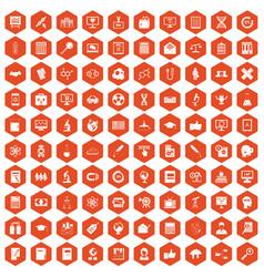 100 analytics icons hexagon orange vector