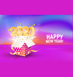 2020 golden number fly from colorful gift box vector image