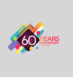 60 years anniversary colorful design with circle vector
