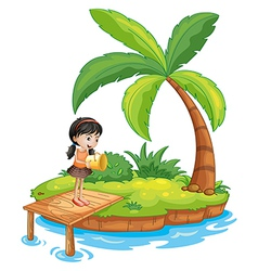 A girl holding a pail above the wooden diving vector image