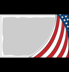 Abstract american flag wave pattern frame vector