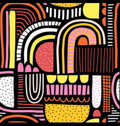 Abstract seamless pattern doodle shapes vector