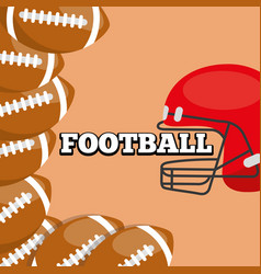 american football helmet and balls sport vector image