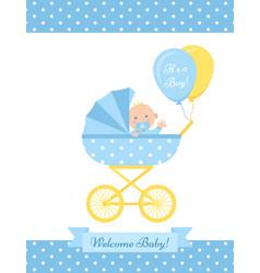bashower boy card blue greeting postcard vector image