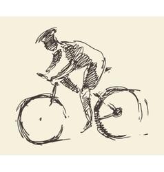 Bicyclist rider man bike hand drawn sketch vector image