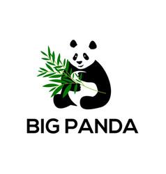 big panda eat bamboo abstract big animal logo vector image