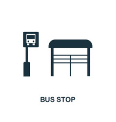 bus stop icon monochrome style design from city vector image