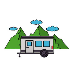 camper trailer mountains sky panorama vector image