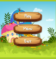 cartoon style wooden buttons with text vector image