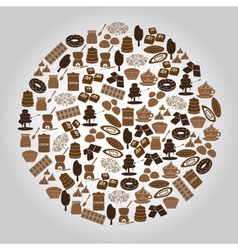chocolate brown icons set in circle eps10 vector image
