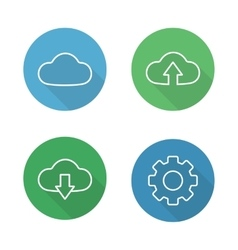 Cloud hosting flat linear icons set vector image