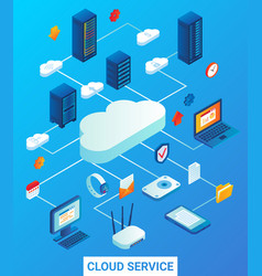 cloud service flat isometric vector image