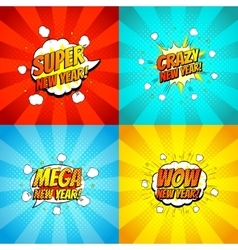 Collection of happy new year backdrops vector image