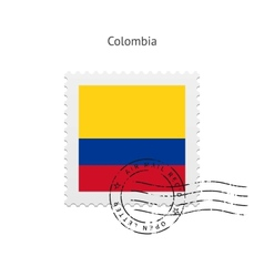Colombia Flag Postage Stamp vector