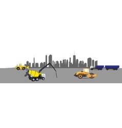 Construction Machinery in the City vector image