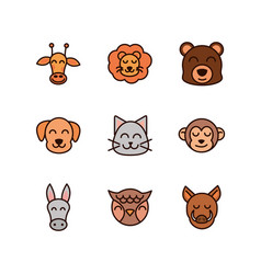cute face animals cartoon icons set vector image