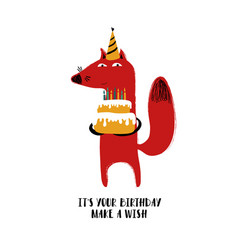 Cute fox holding a birhday cake vector