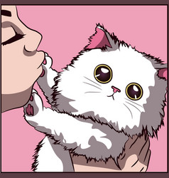 Cute white cat with big eyes and tiny pink paws vector