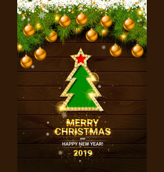 Decorated christmas tree in red and white colors vector