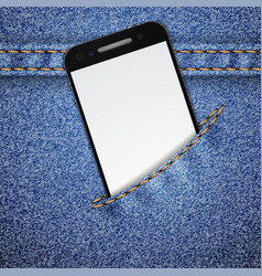 Denim background with smartphone vector image