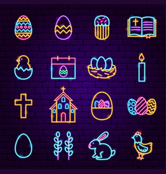 Easter neon icons vector