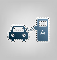 electric car battery charging sign blue vector image