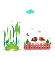 Fence with spring couple bird and frog vector