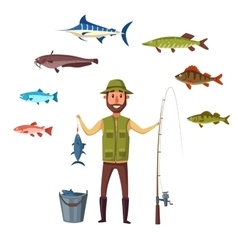 Fisher man fish catch of isolated fishes vector
