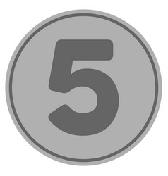 Five silver coin vector