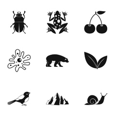 Flora icons set simple style vector