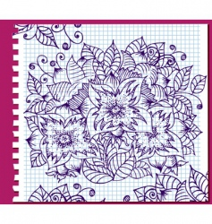 floral ink pattern vector image