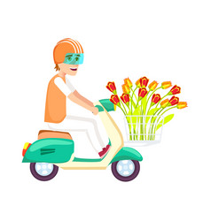 Flower delivery icon with courier man vector