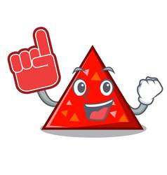 Foam finger triangel mascot cartoon style vector