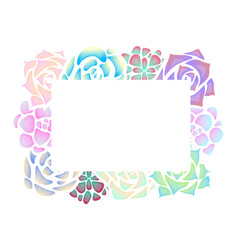 Frame of neon succulents with a top view on a vector