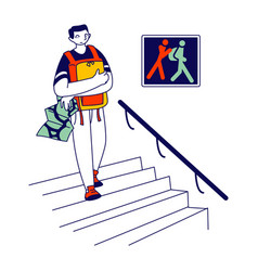 Frightened tourist holding his backpack on chest vector