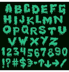 Green font smudges alphabet splashing vector image