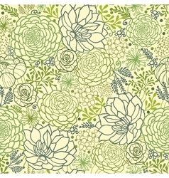 Green succulent plants seamless pattern background vector image