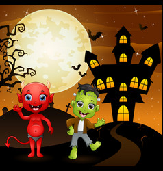 halloween background with red devil and frankenste vector image