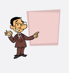 Happy asian businessman makes the gesture of ok vector