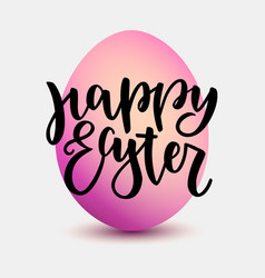 happy easter lettering for greeting card onpink vector image