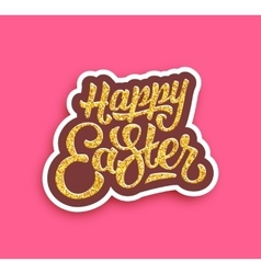 Happy Easter lettering with gold glittering vector image